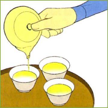 5.茶碗にお湯を注ぐ。